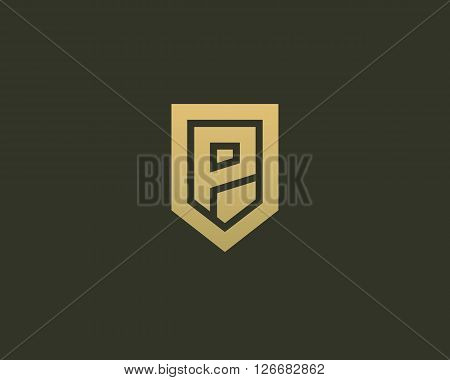 Abstract letter P shield logo design template. Premium nominal monogram business sign. Universal foundation vector icon