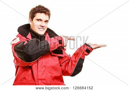 Adventurous Man Making Gesture
