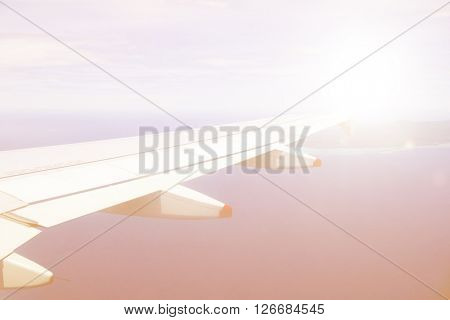 Airplane heading to an island Concept