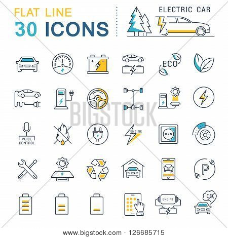 Set vector line icons in flat design electric cars and eco transport with elements for mobile concepts and web apps. Collection modern infographic logo and pictogram.