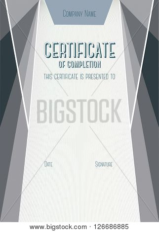 Dark Vertical Modern Certificate of completion. A4 size with 5 mm bleed