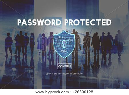 Password Protected Network Security Protection Concept