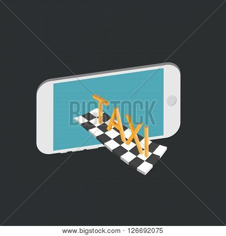 Flat 3d isometric high quality city taxi service. Mobile Taxi service concept.