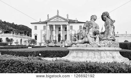 Vicenza Italy - May 13 2015: Villa Cordellina Lombardi built in 18th century on a design by architect Giorgio Massari.
