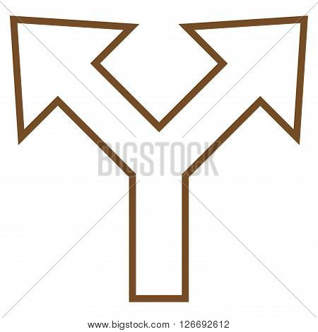 Bifurcation Arrow Left Right vector icon. Style is outline icon symbol, brown color, white background.