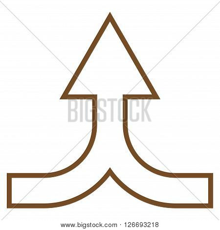 Combine Arrow Up vector icon. Style is thin line icon symbol, brown color, white background.