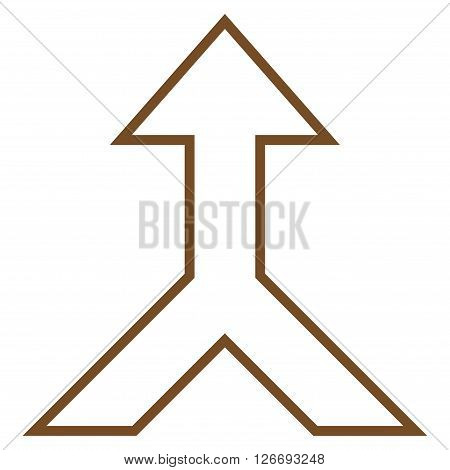 Combine Arrow Up vector icon. Style is stroke icon symbol, brown color, white background.