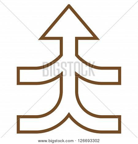 Combine Arrow Up vector icon. Style is outline icon symbol, brown color, white background.