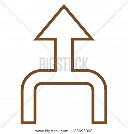 Combine Arrow Up vector icon. Style is contour icon symbol, brown color, white background.
