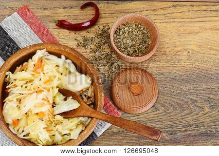 Sauerkraut, Carrot, Salt, Water, Sugar, Garlic, Fennel Seeds, Pepper Studio Photo