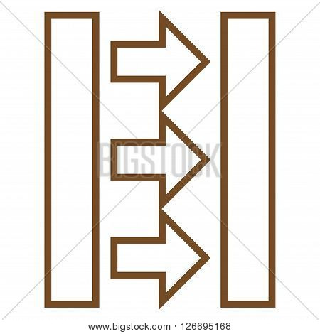 Pressure Horizontal vector icon. Style is thin line icon symbol, brown color, white background.