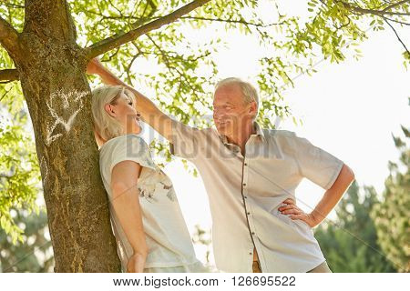 Senior couple in love stands happily under a tree