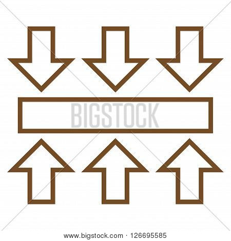 Pressure Vertical vector icon. Style is contour icon symbol, brown color, white background.