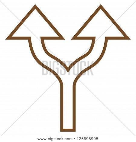 Split Arrows Up vector icon. Style is stroke icon symbol, brown color, white background.