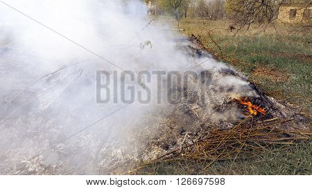 Burning grass foliage heap with heavy dense smoke. Pollution fume contamination garbage environment concept.