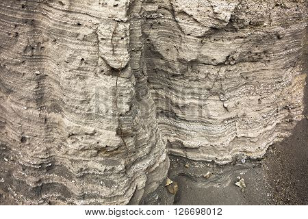 Several geological layers uncovered by water erosion