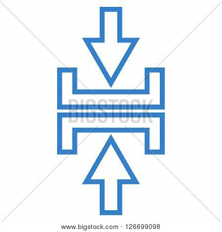 Pressure Arrows Vertical vector icon. Style is stroke icon symbol, cobalt color, white background.