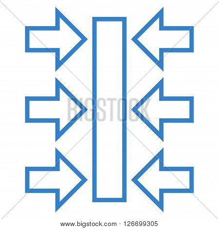 Pressure Horizontal vector icon. Style is stroke icon symbol, cobalt color, white background.