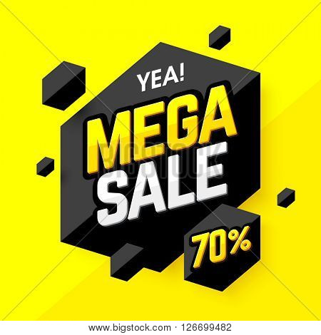 Mega Sale banner, poster background. Vector illustration.