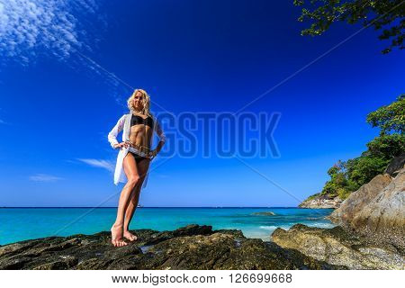 Young Woman Posing At The Freedom Beach In Phuket, Thailand