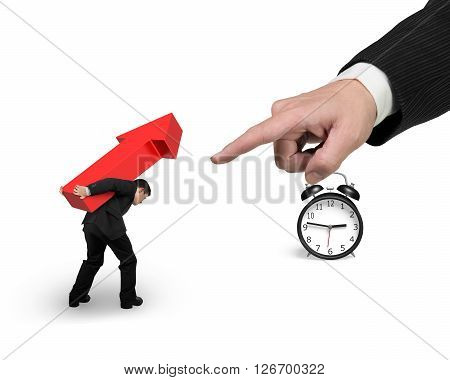 Businessman Carrying Red Arrow Sign With Big Forefinger Pointing At