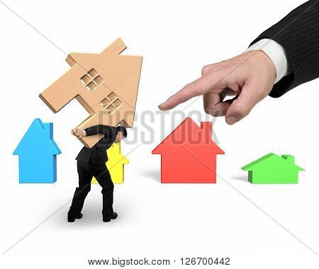 Businessman carrying wooden house on his back with big hand forefinger pointing at isolated on white.