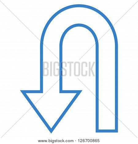 Return Arrow vector icon. Style is outline icon symbol, cobalt color, white background.