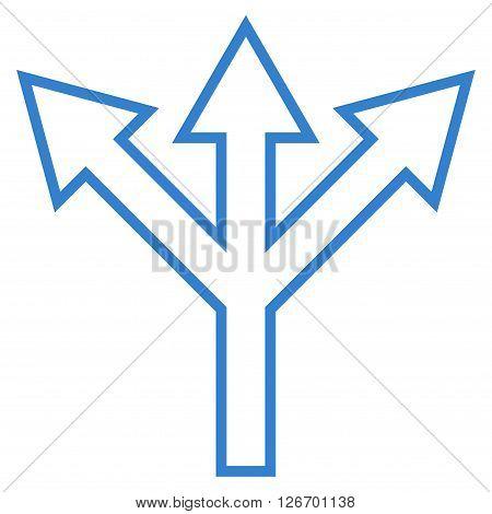 Split Arrow vector icon. Style is contour icon symbol, cobalt color, white background.