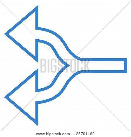 Split Arrows Left vector icon. Style is contour icon symbol, cobalt color, white background.