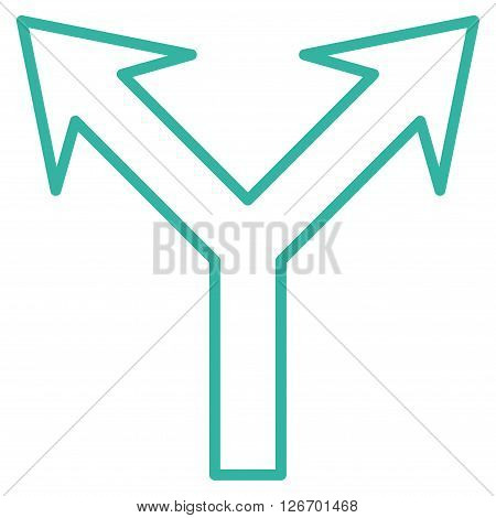Bifurcation Arrow Up vector icon. Style is thin line icon symbol, cyan color, white background.