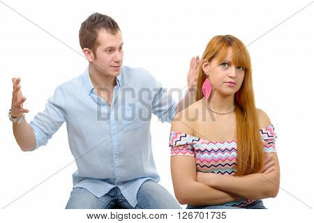 Young couple have an argument because of relationship crisis