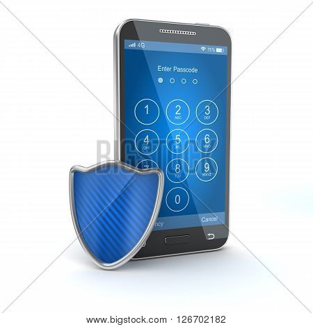 Protect your mobile phone. 3d render and computer generated image.