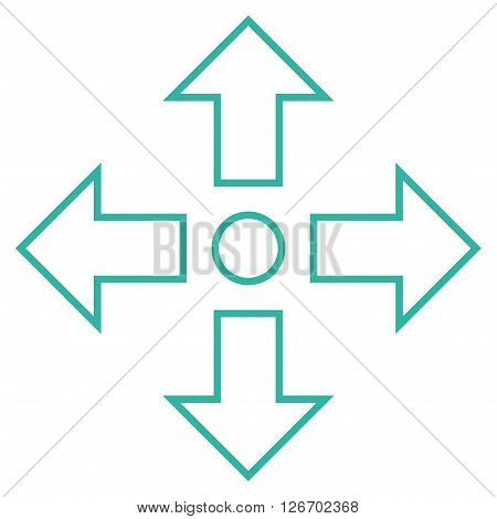 Maximize Arrows vector icon. Style is thin line icon symbol, cyan color, white background.