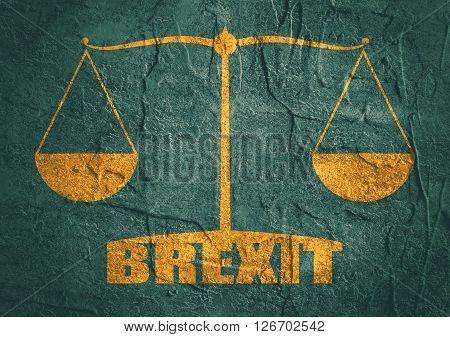 United Kingdom exit from europe relative image. Brexit named politic process. Scales balance yes or no. Concrete textured