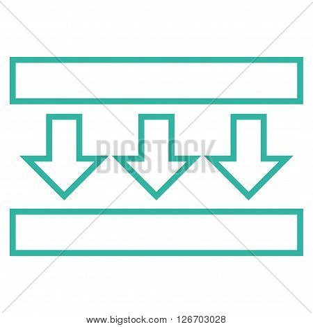 Pressure Down vector icon. Style is outline icon symbol, cyan color, white background.