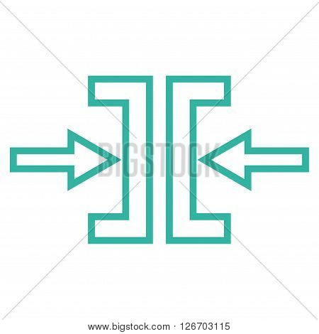 Pressure Horizontal vector icon. Style is contour icon symbol, cyan color, white background.