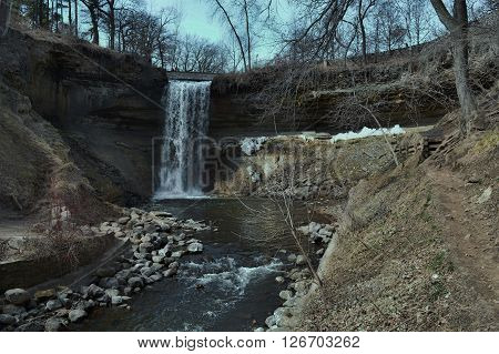 Minnehaha Falls in Minneapolis Minnesota during spring