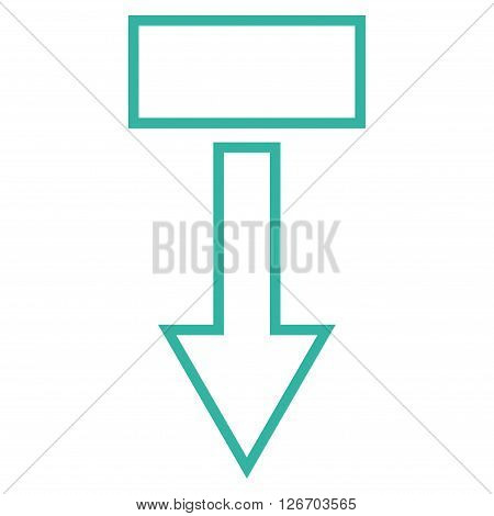 Pull Arrow Down vector icon. Style is thin line icon symbol, cyan color, white background.
