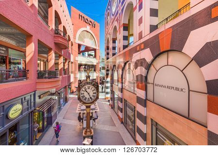SAN DIEGO, CALIFORNIA - FEBRUARY 26, 2016: The Westfield Horton Plaza. The five-level outdoor mall was opened in downtown San Diego in 1985.