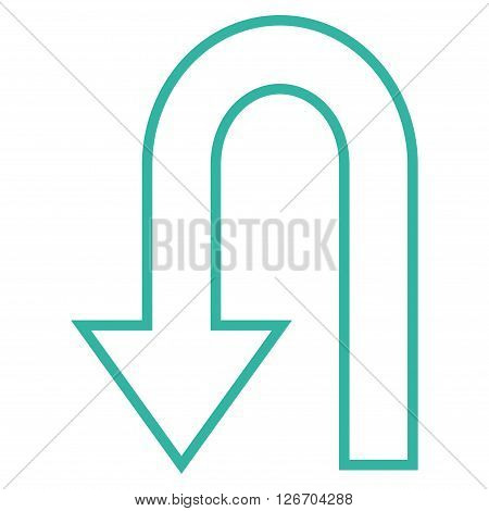 Return Arrow vector icon. Style is thin line icon symbol, cyan color, white background.