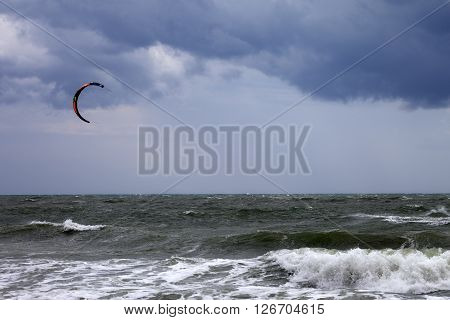Power kite and storm sky at windy day