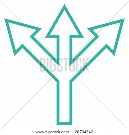 Split Arrow vector icon. Style is stroke icon symbol, cyan color, white background.