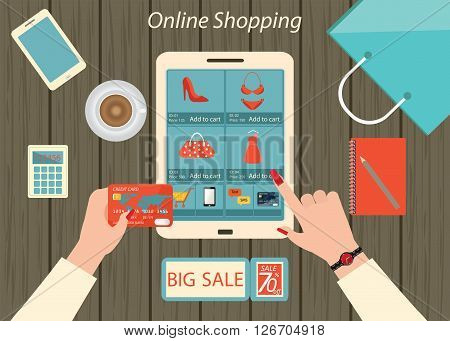 Online shopping businesswoman purchasing products and making orders using a laptop with shopping bags credit cards coupons calculator and products delivery conceptual vector illustration.