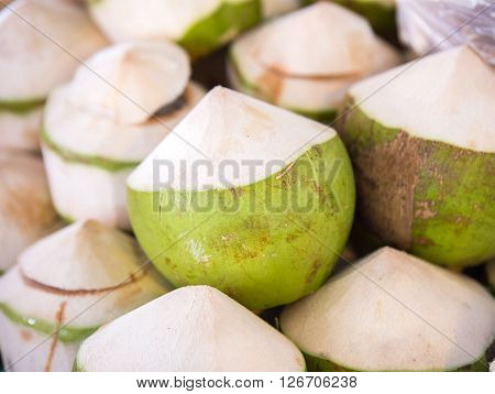 Fresh Coconuts In The Market. Tropical Fruit Fresh Coconut