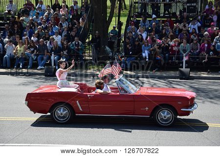 WASHINGTON, DC - APR 16: Beauty pageant winner at the 2016 National Cherry Blossom Parade in Washington DC, as seen on April 16, 2016. Thousands of visitors gathered to attend this annual event.