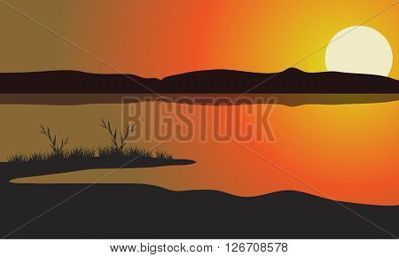 Lake at the sunset scenery a very beautiful