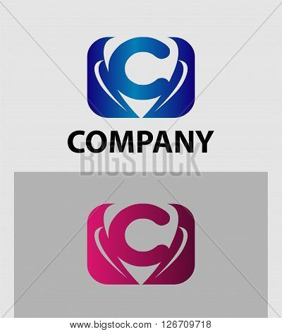 Letter C logo design. Letter C logo icon design template elements