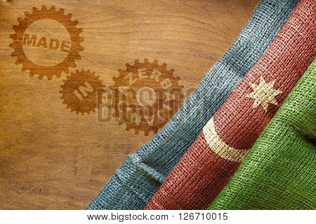 Made in Azerbaijan. The national flag of Azerbaijan stylized sackcloth.