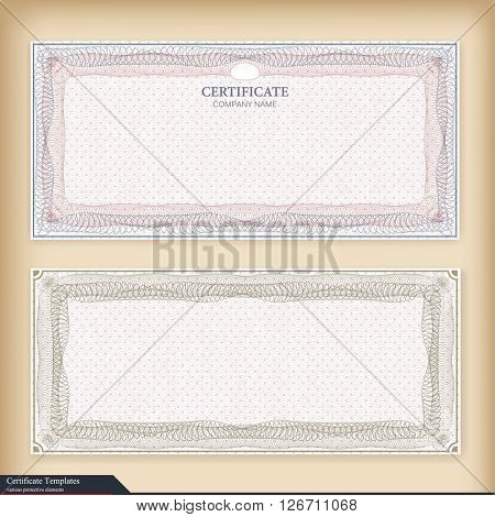 Vintage certificate template with watermark.
