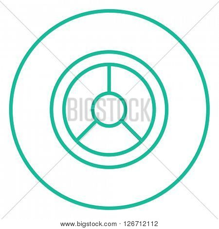 Steering wheel line icon.